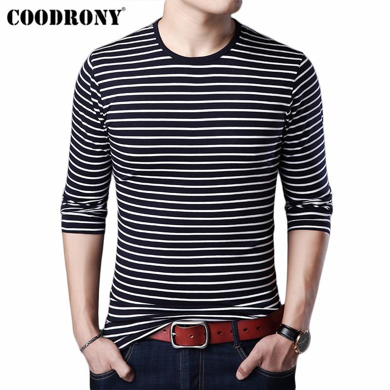 COODRONY T Shirt Men Streetwear Tshirt Clothes 2019 Autumn Fashion Classic Striped T-Shirt Cotton Tee Homme 95020