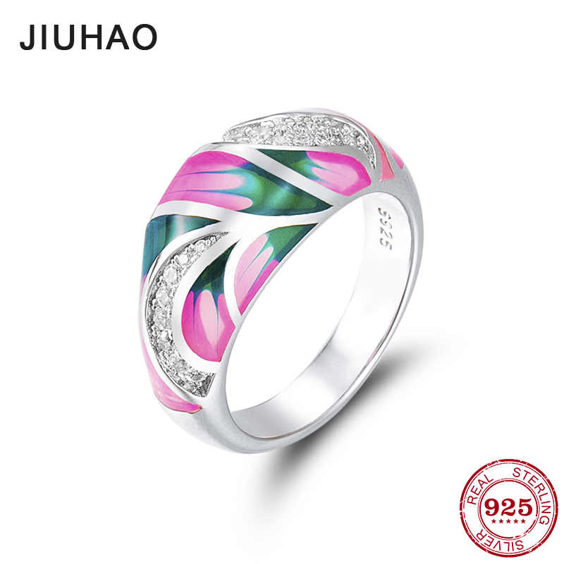 New like pink lotus for women 100% Authentic 925 Sterling Silver charms Dazzling CZ fashion Ring Party Jewelry Enamel