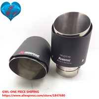 2 STYLE CAR MODIFIDE MUFFLER 63mm Inlet 101mm Outlet Akrapovic Carbon Fiber Exhaust Tip Muffler Stainless