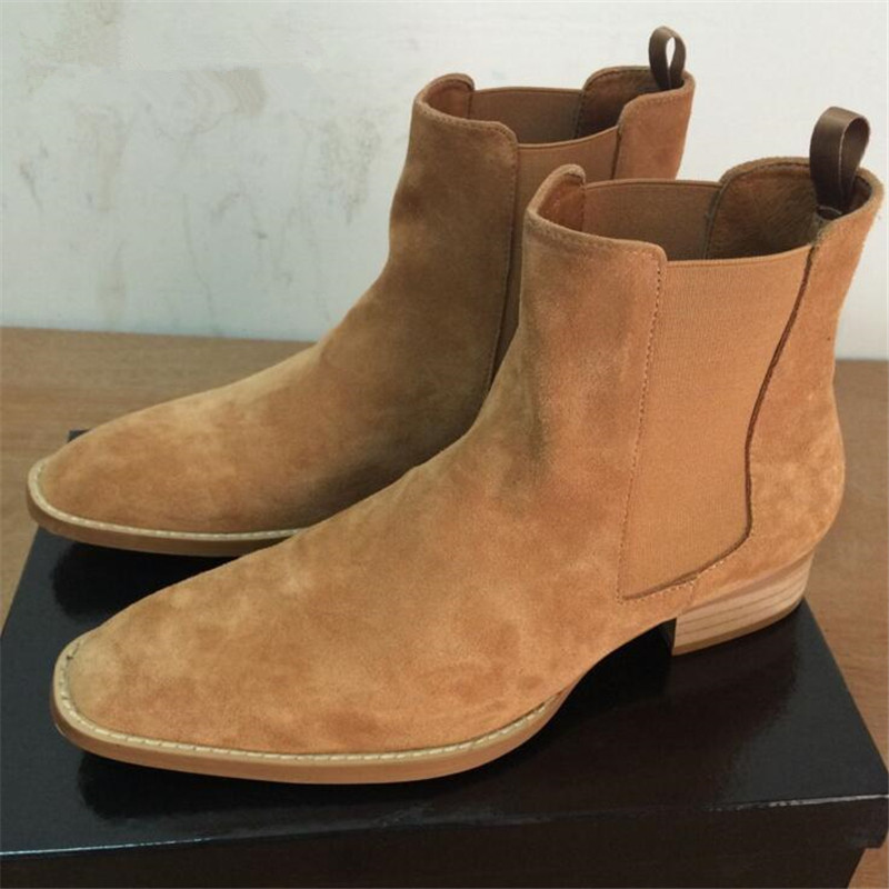 100% Genuine Leather Men Boots New Handmade Crepe Bottom Kanye West Boots Men Platform Nubuck Chelsea Boots Season Fashion Shoes justin bieber fear of god ankle boots 100% genuine leather kanye west boots men casual shoes fog platform botas knight boots