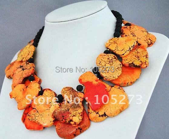 Stunning Orange Pearl Necklace Statement Necklace 18inch AA6-8MM black crystal & lava beads necklace New Free Shipping