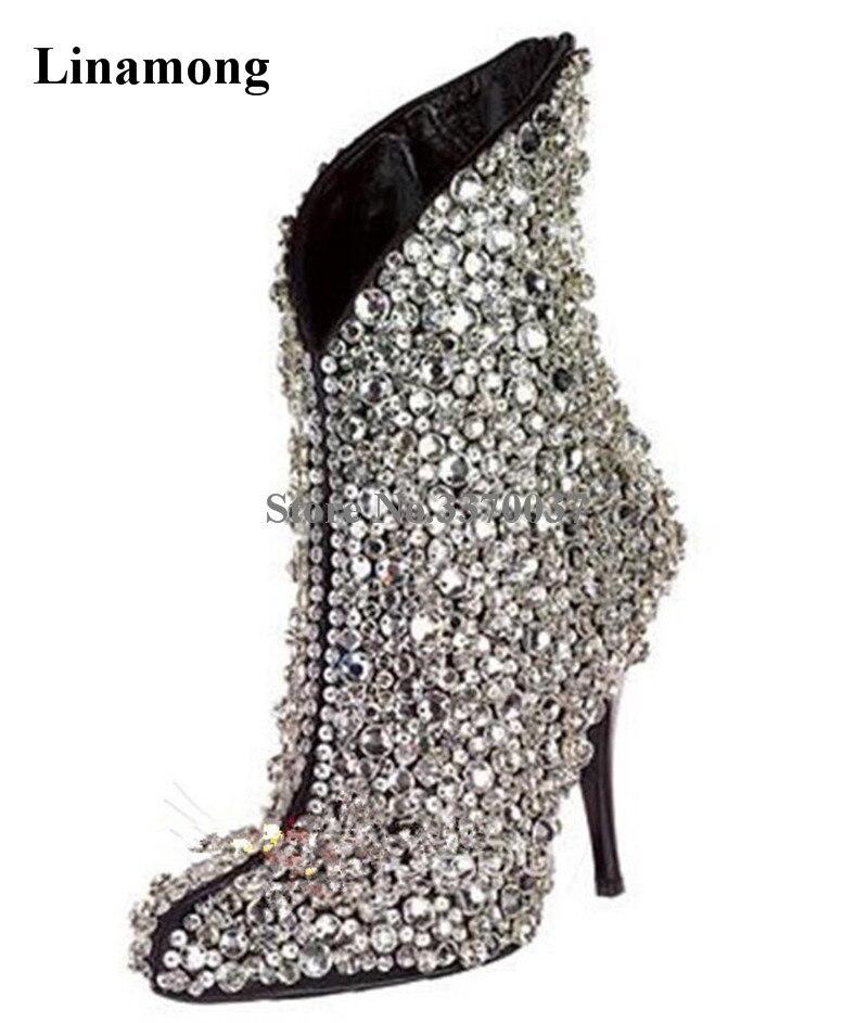 Handgemachte Dünne Luxuriöse Ferse Bling Hochzeit Glitzernde Frauen Heel Kurze Club Kristall Stiefeletten Strass Schuh Stiefel High EdIXwxxq