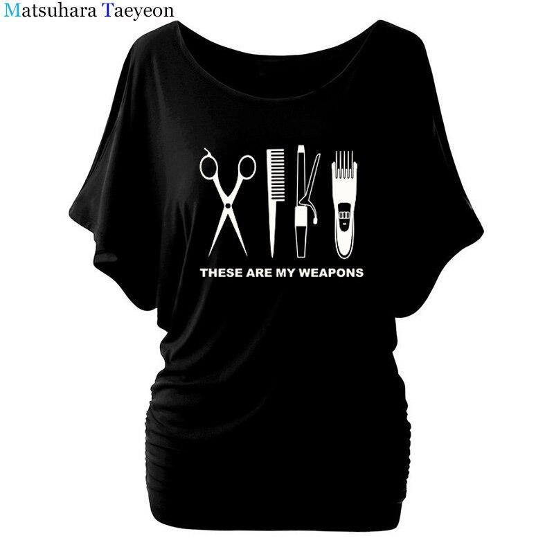 Barber   T     Shirt   Women Batwing Sleeve O-Neck Cotton Hairdresser Weapon   T  -  shirt   Girls Woman scissors Clothing Tops clothing T90