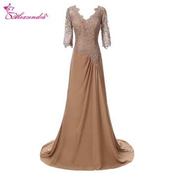 Alexzendra Dark Champagne Chiffon A Line Mother of Bride Dress with Short Sleeves Double V Neck Long Evening Gowns