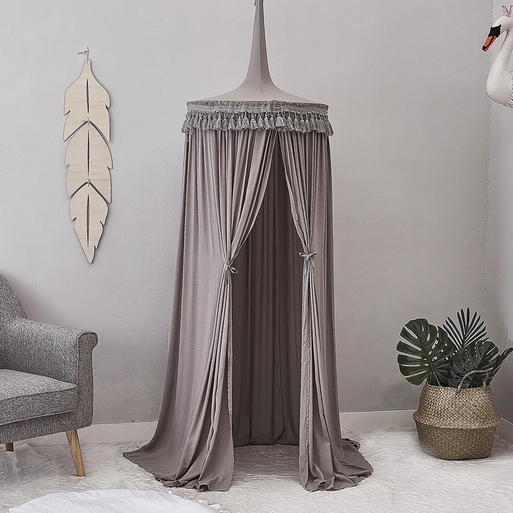 Children Crib Baby Bed Tassels Canopy, Round Dome Hanging Valance Kids Play Tent Mosquito Net Curtain Room Decor White Grey Pink baby bed canopy without bottom portable folding baby bed mosquito net children mosquito tent 65 115cm kids outdoor camping tent