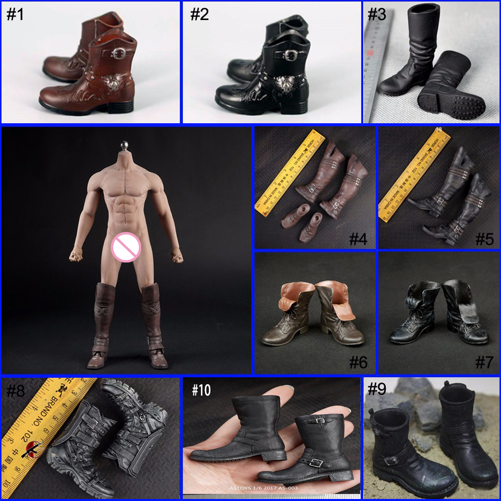 """1//6 Male Black Boots Leather Combat Boots Shoes Fit 12/"""" Figure Body"""