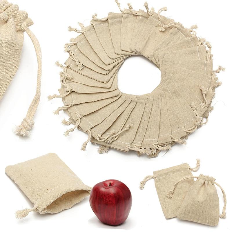 30Pcs Small Linen font b Bags b font Pouch Jute Sack Gift font b Bags b