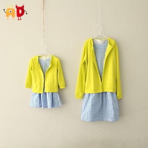 AD Fashion Girl Dress Set Yellow Sweater and Blue Plaid