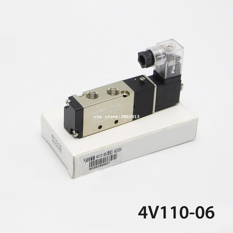 Pneumatic Tools 4V110-06 Pneumatic Solenoid Valve AC220V DC24V with Light