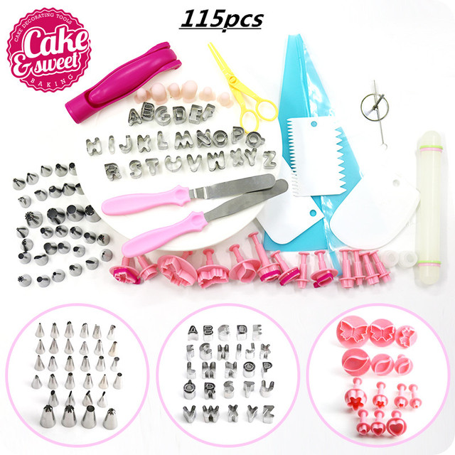 Cake Decorating Supplies Kit 115 Pcs Set Cake Rotating Turntable Stand Icing Tips Flower Lifter silicone   Baking Tools Set