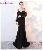 Làm đẹp-Emily Sexy Đen Bridesmaid Dresses 2017 Off the Vai Nàng Tiên Cá Backless Chính Đảng Prom Dresses