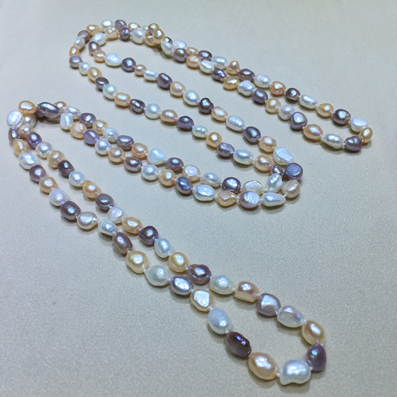 Collier de perles de femme fait main irrégulière perles d'eau douce couleurs mélangées longueur en option bijoux de dame chaînes de décoration colliers