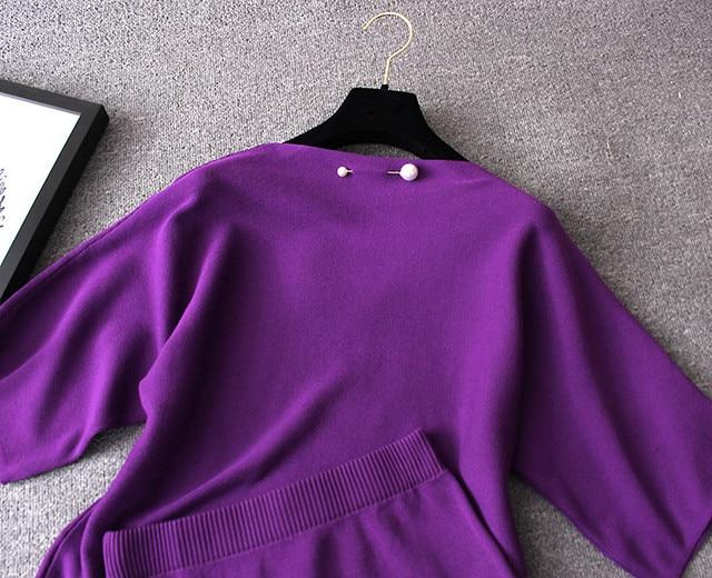 ZAWFL femmes tricoté costume jupe et haut ensemble hiver 2019 automne manches longues femme tricots avec Midi jupes ensembles deux pièces