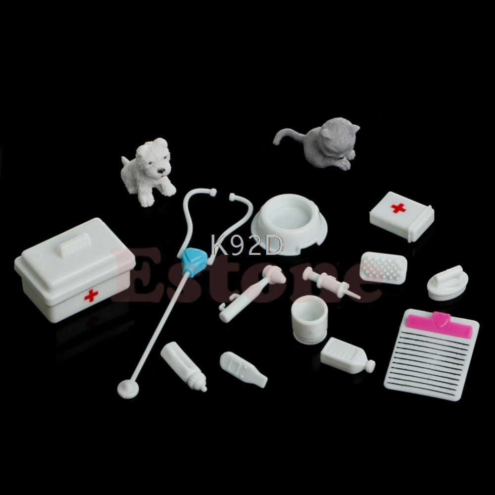 Mini Medical Equipment Toys 14pcs For Fashion Doll Accessories White J04 Fancy Colours