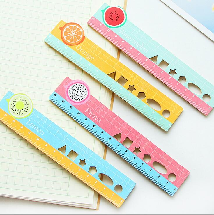 15cm Sweet Summer Fruit Hollow Out Wooden Ruler Measuring Straight Ruler Tool Promotional Gift Stationery