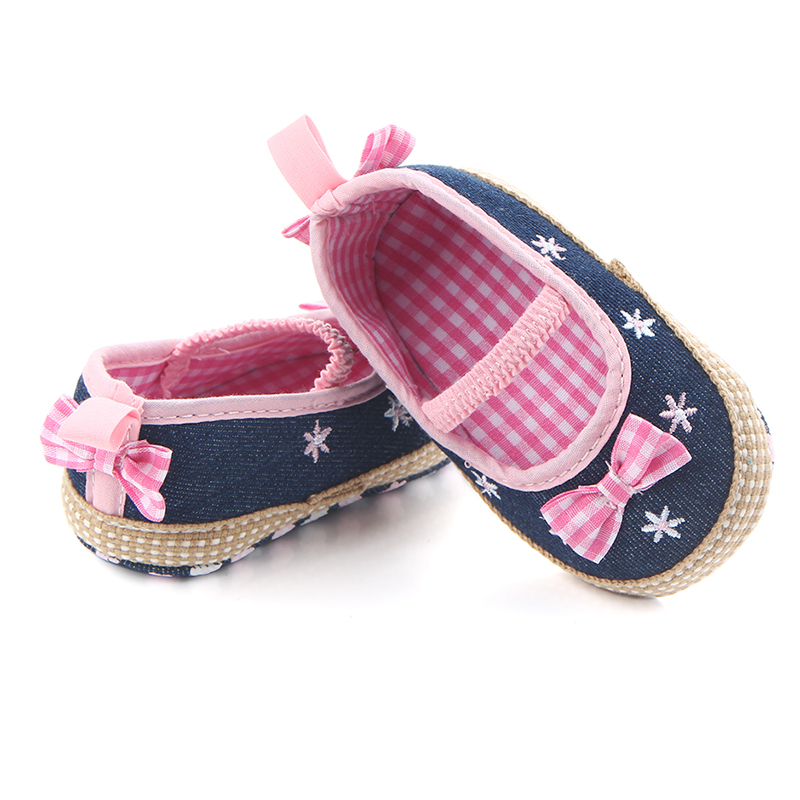 Baby Girl  Denim Shoes Newborn Baby First Walkers Shoes  White Infant Leather Rubber Sole Shoes Autumn Born Girl Shoes