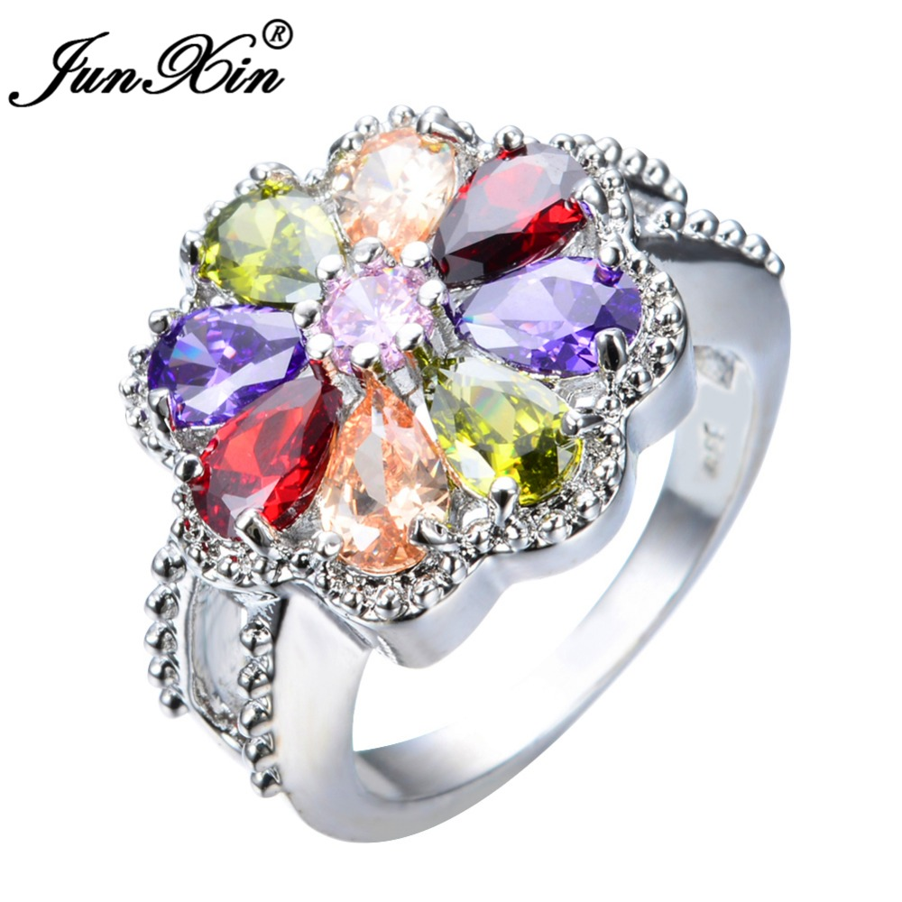 Junxin Bohemian Female Girls Princess Multi Color Ring Fashion White Gold  Filled Jewelry Promise Engagement Rings
