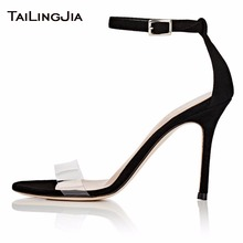 New Word Buckle High Heel Woman Sandals Black Faux Suede Open Toe Summer Shoes Nude Clear Transparent PVC Pu Ladies Sandals 2019 цены