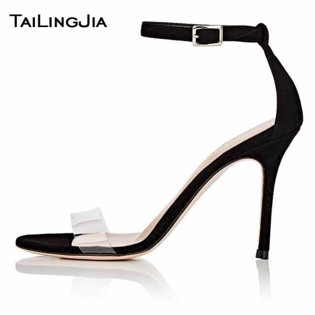 New Word Buckle High Heel Woman Sandals Black Faux Suede Open Toe Summer Shoes Nude Clear Transparent PVC Pu Ladies Sandals 2019
