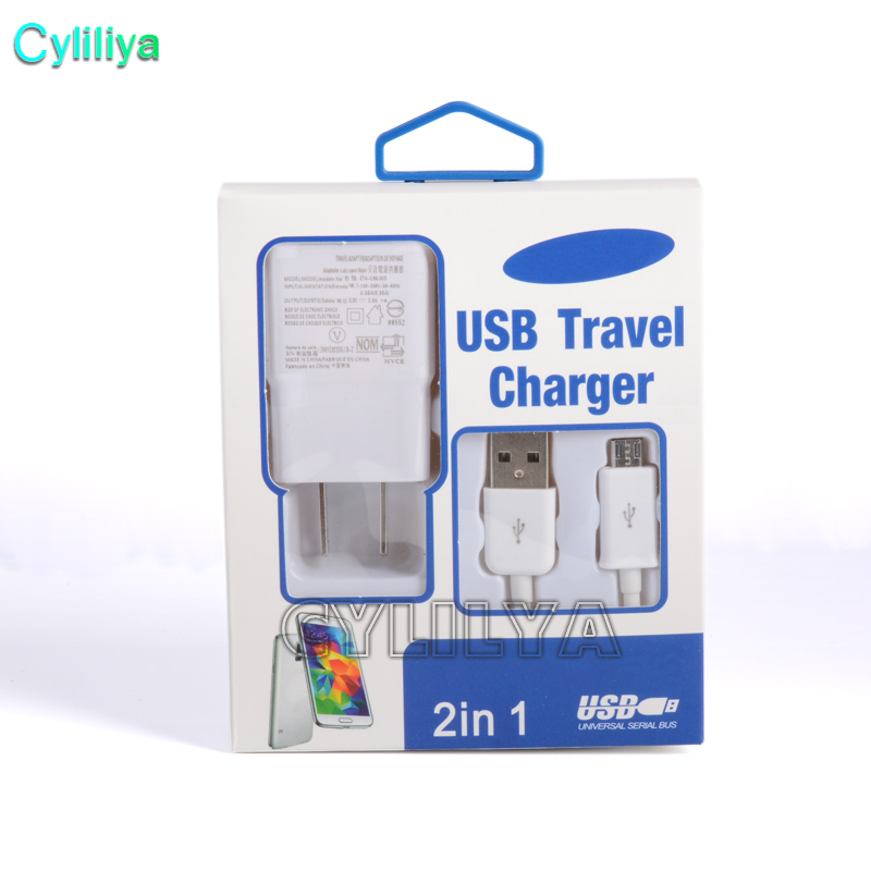 50sets 2 in 1 Charger Kits USB 2 0 EU US Plug Wall Charger Adapter For
