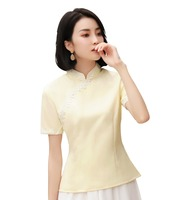 Shanghai Story Short Sleeve faux silk cheongsam top Lattice traditional Chinese Top 2019 Women's Blouse