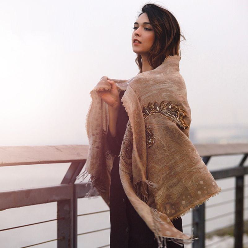 Fashion elegant fashion handmade beading embroidery cape scarf gradient silk wool haneda Luxury shawls blending silk scarf