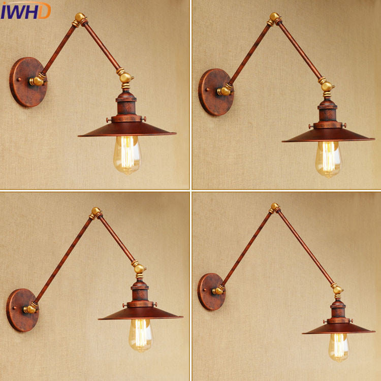 IWHD Long Swing Arm Iron Wall Lamp Vintage Edison Bulb Light Fixtures Loft Industrial Wall Lighting For Bed Bedside Bedroom iwhd loft style creative retro wheels droplight edison industrial vintage pendant light fixtures iron led hanging lamp lighting