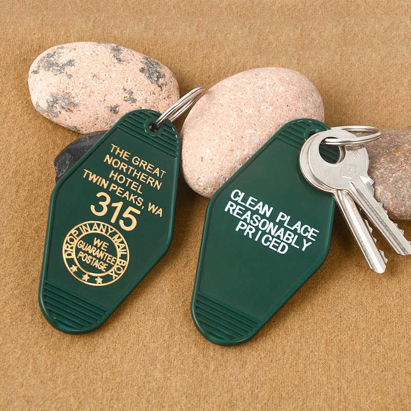 Twin Peaks Key chains Great Northern Hotel Room #315 Key Tag พวงกุญแจพวงกุญแจอะคริลิคสำหรับผู้หญิงผู้ชายแฟชั่นเครื่องประดับ
