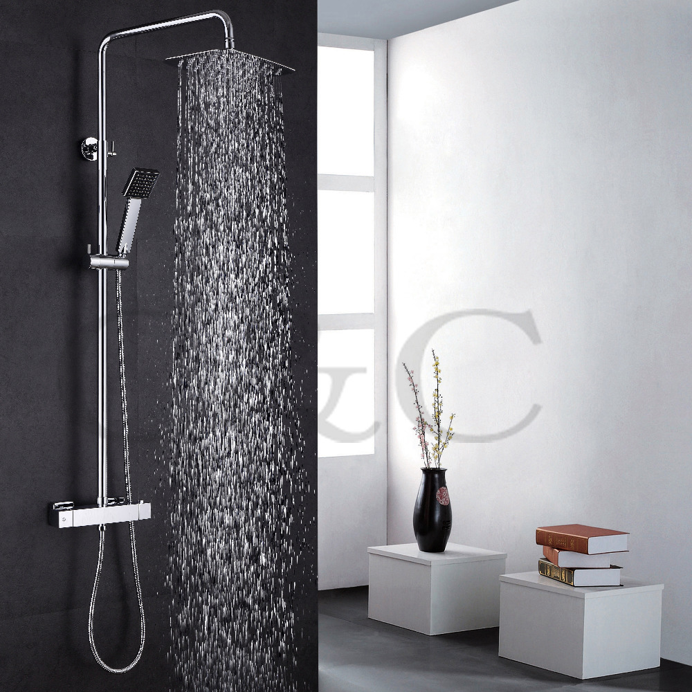 With Thermostatic Bath Shower Faucet Valve 30X20 cm Air Drop Rainfall Shower Head Exposed Bathroom Shower Set 030-30X20TA auto thermostatic control bath