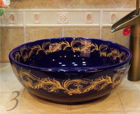 Rond salle de bains comptoir en céramique lavabo évier vestiaire porcelaine vanité cuve bol jyx011