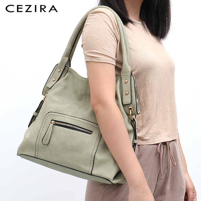 CEZIRA Brand Fashion Vegan Leather Women Shoulder Bags Female Casual Hobos Ladies Large PU Zip Pocket Tote Handbag Messenger Bag 2