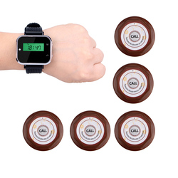 1 Watch Receiver + 5pcs Call Button Pager Wireless Calling System Restaurant Equipments Waiter Calling System F3360
