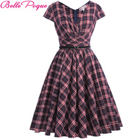 Belle Poque Summer Dress Women Rockabilly Audrey Hepburn Robe Casual Cap Sleeve V Neck Ruffle Vintage