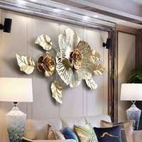 Luxury 3D Stereo Wall Wrought Iron Peony Artificial Flower Crafts Decoration Home Hotel Wall Hanging Mural Ornament Art R632
