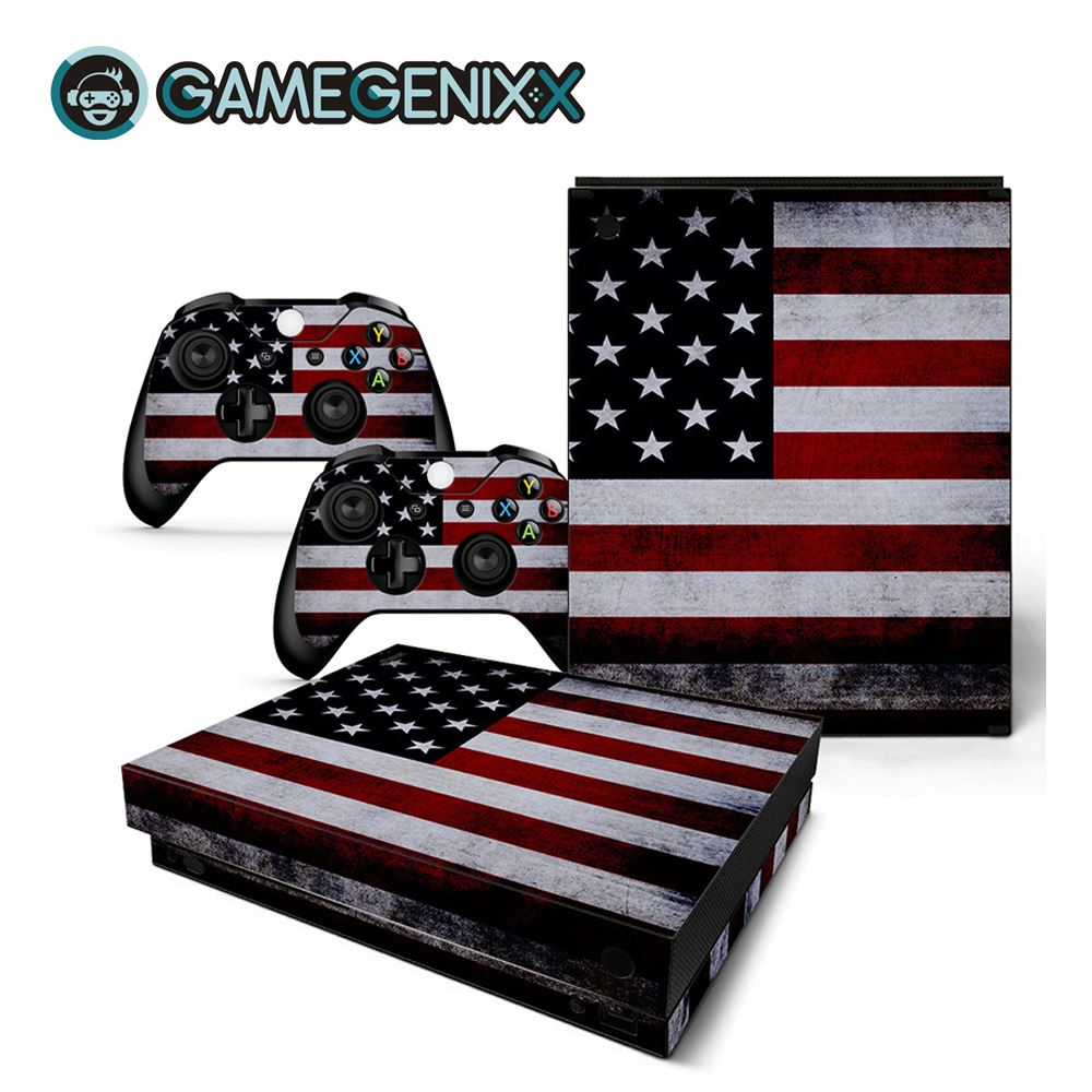 GAMEGENIXX Skin Sticker Vinyl Wrap Cover Full Set for Xbox One X Console and 2 Controllers - American Flag(China)