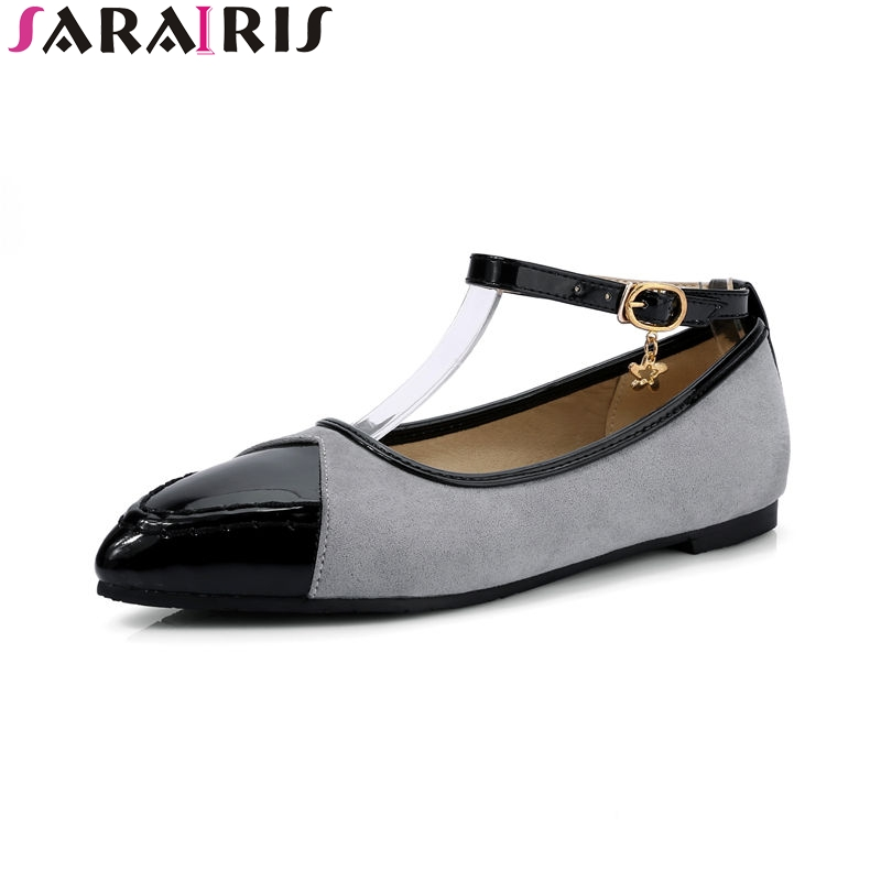 SARAIRIS 2018 Spring Autumn Fashion Patent Flats Women Big Size 34-43 Shallow Shoes Woman Sweet Women Casual Shoes plue size 34 49 spring summer high quality flats women shoes patent leather girls pointed toe fashion casual shoes woman flats