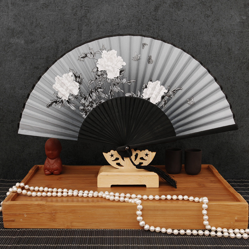 Bamboo Wood Silk Folding Fan Japanese Style and Butterflies-Pattern