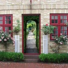 Зеленая фоновая дверь Настенная Наклейка для гостиной спальни