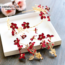 HIMSTORY Handmade Bridal Wine Red Flower Headbands Simulated Pearls Hairband Hairpins Hair Jewelry Wedding Accessories