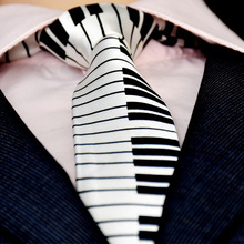 ree Shipping Classic Fashion Mens Music Tie Holiday Festival Printed Piano Guitar Smiling Face Polyester 5 cm Width Necktie