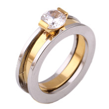 Gold Color Stainless Steel Wedding Rings Made With Austrian Crystal Stellux Cubic Zirconia