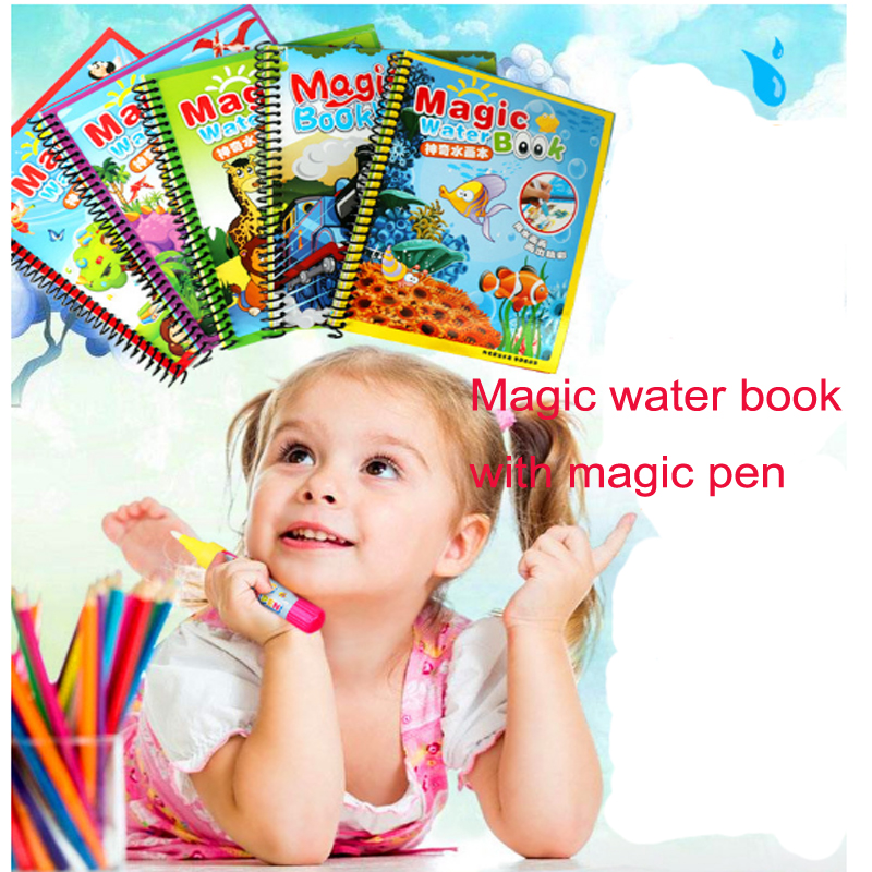 Magic Water Drawing Book Toddler, Reusable Water Painting Book Doodle with Magic Pen For Children's Education Drawing Toys