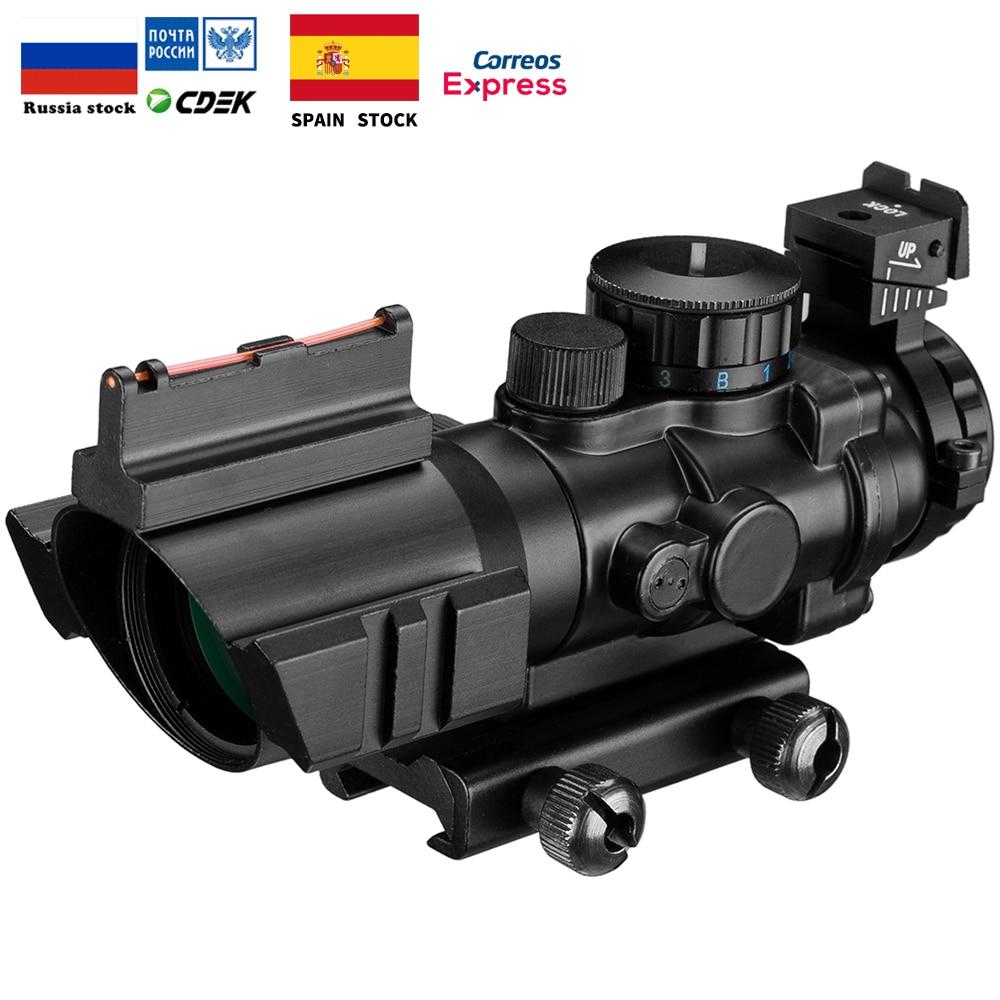 4x32 20 milímetros Dovetail Riflescope Acog Optics Scope Vista Tático Reflex Caça Arma Rifle Sniper Airsoft Lupa Ar arma