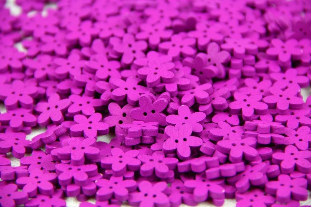 ₩20g 15mm woooden ropa DIY botones de madera de color púrpura forma ...