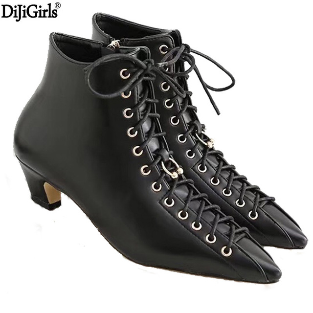 92abf0165347 Womens Boots Fashion Low Heels Pointed Toe Ankle Boots For Women Kitten  Heels Spring Elegant Ladies Short Booties Black Shoes