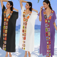 a4a39e308a3 2018 New Women Summer Colored Long Maxi See-Through Crochet Tunic Pareo  Beach Cover Up
