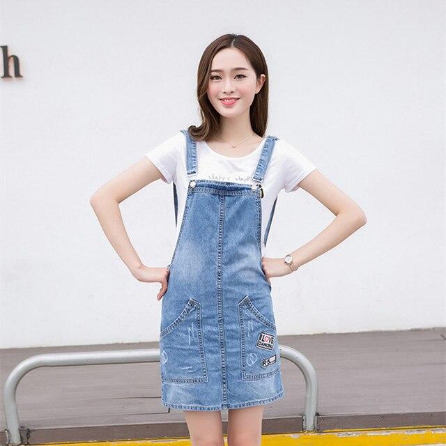 2016 Denim overalls Women Denim Skirt overalls Light Blue Ripped Jeans  Overall Denim skirt strap skirts womens BL10 5712a4ea2e