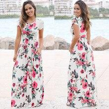 Women Summer Floral Print Long Maxi Dress 2019 Boho Beach Dress Short Sleeve Evening Party Dress Tunic Vestidos Plus Size XXXL