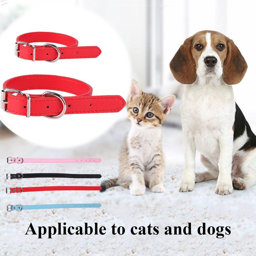 Pet Dog Collar Adjustable PU Leather Neck Strap Supplies Multi Color S/M Collar Perro Collier Pour Chien