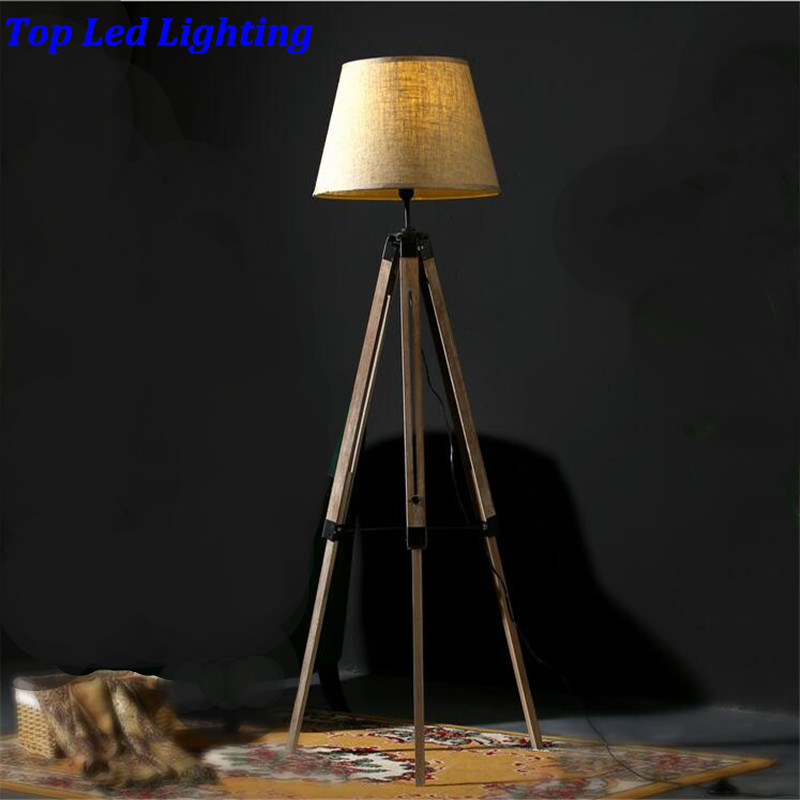 vintage american country wood fabric led e27 floor lamp for living room bedroom restaurant 3 legs wood floor lamp